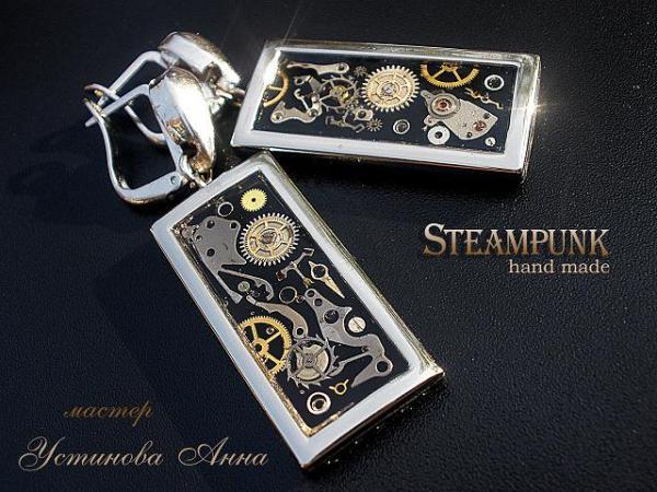 серьги с посеребрением в стиле Steampunk (основа чёрный пластик Цернит)
