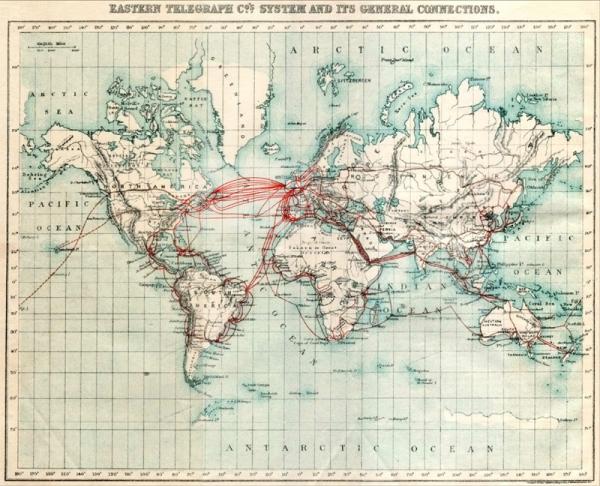 Карта подводных телеграфных кабелей.