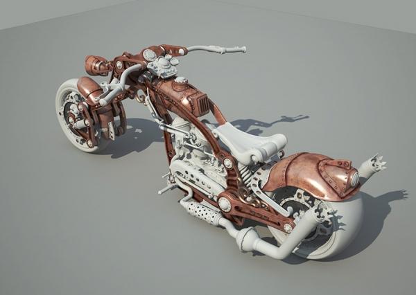 Steampunk Chopper-Bike - Чоппер в стиле Стимпанк 3D WIP Часть 2 (Фото 3)