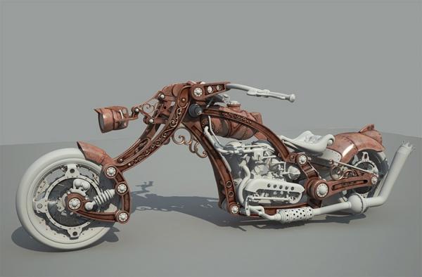 Steampunk Chopper-Bike - Чоппер в стиле Стимпанк 3D WIP Часть 2 (Фото 2)
