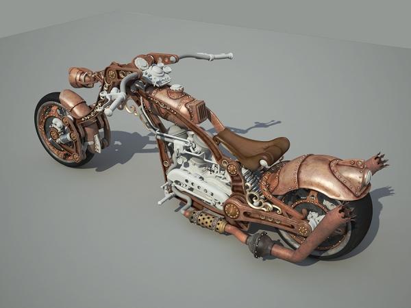 Steampunk Chopper-Bike - Чоппер в стиле Стимпанк 3D WIP Часть 2 (Фото 8)
