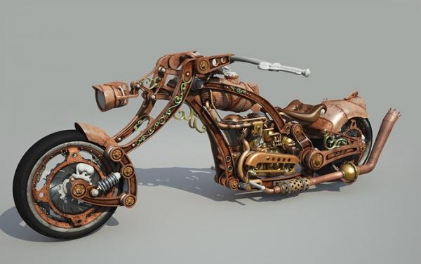 Steampunk Chopper-Bike - Чоппер в стиле Стимпанк 3D WIP Часть 2 (Фото 13)