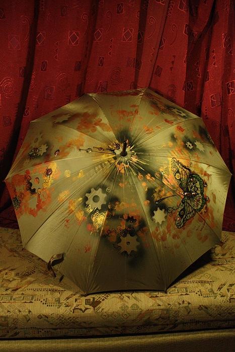 """Зонт с авторской росписью в стиле стимпанк """"Бабочка"""" (Фото 2)"""