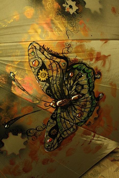"""Зонт с авторской росписью в стиле стимпанк """"Бабочка"""" (Фото 3)"""