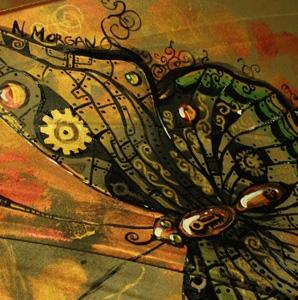 """Зонт с авторской росписью в стиле стимпанк """"Бабочка"""""""