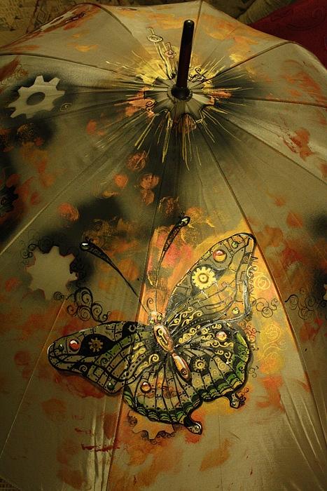 """Зонт с авторской росписью в стиле стимпанк """"Бабочка"""" (Фото 6)"""