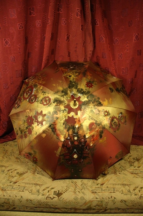Продолжая тему росписи на зонтах в стиле стимпанк... (Фото 13)