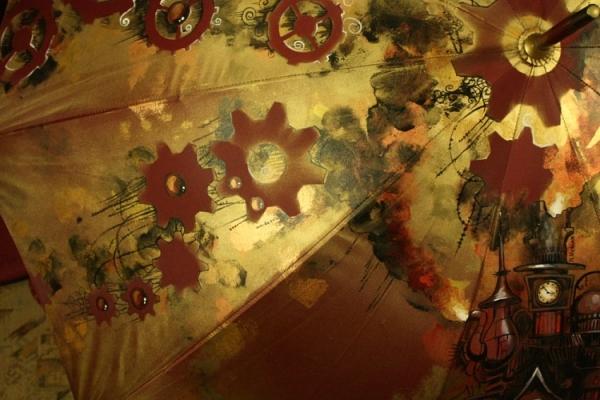 Продолжая тему росписи на зонтах в стиле стимпанк... (Фото 15)