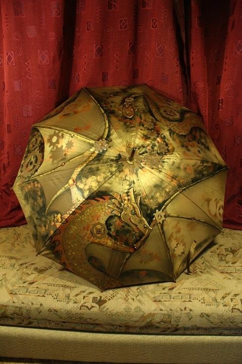 Продолжая тему росписи на зонтах в стиле стимпанк... (Фото 6)