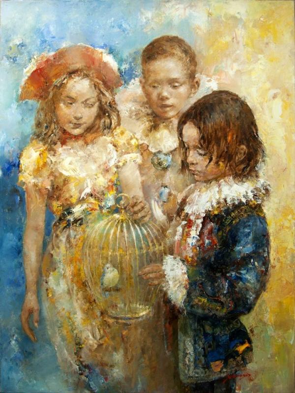 Птичка и дети, Николай Федяев