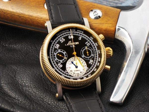 Стимпанк часы хронограф регулятор Buran с дизайнерским ремешком