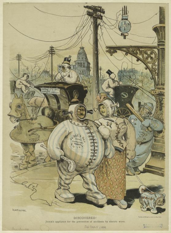 Карикатура в журнале Judge о мерах предосторожности от несчастных случаев с электричеством (1889)