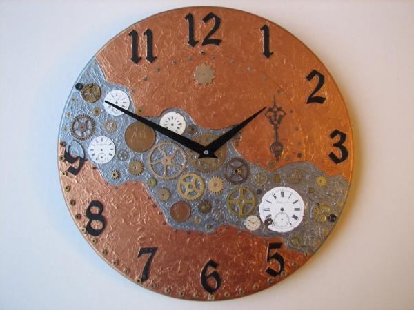 Настенные часы в стиле стимпанк (псевдостимпанк) (Фото 3)
