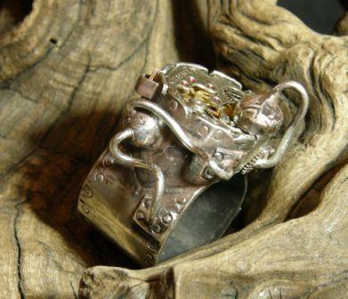 Кожаный браслет с часами + перстень (Фото 4)