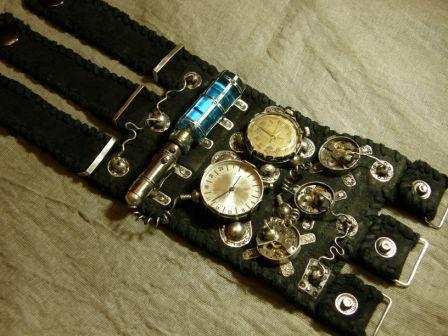 Кожаный браслет с часами + перстень