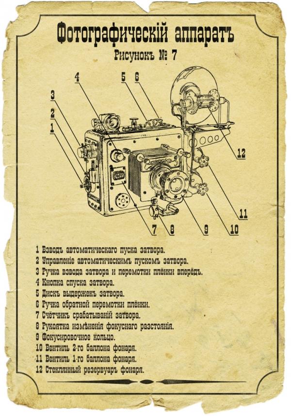 Ретро-футуристическая модель фотоаппарата с функцией прожектора.