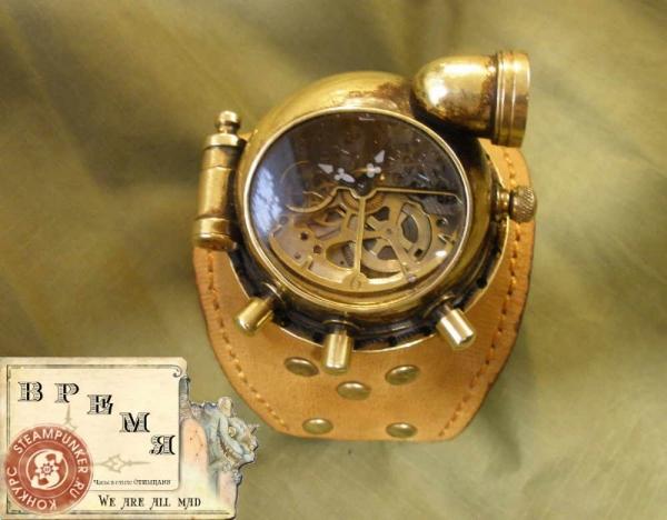 """Часы стимпанк, наручные, скелетон. На конкурс """"Время""""."""