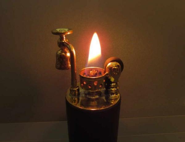 Зажигалка, латунь + кожа. №109.
