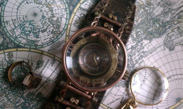 """Стимпанк часы ( steampunk watch )... хронометр """"В поисках потерянного времени""""... вторая попытка . (Фото 4)"""
