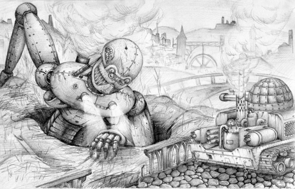 Оцените первую работу в стиле Стимпанк. Рисунок карандашём.