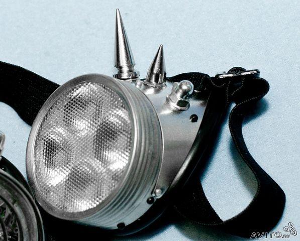 Кибер очки (гогглы) с шипами, кулером, рассеивателем, и RGB диодами