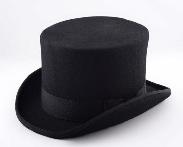 Классический цилиндр черного цвета.
