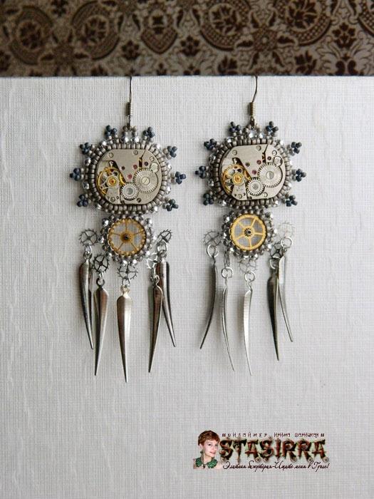 Серьги стимпанк clockwork гламурный стимпанк украшения из часов