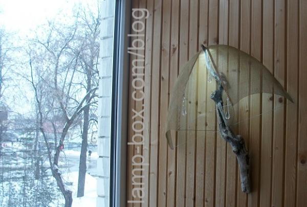 """Настенный декоративный светодиодный светильник """"Зонтег"""" (топляк, метал. сетка, led лента, капли стекло)"""