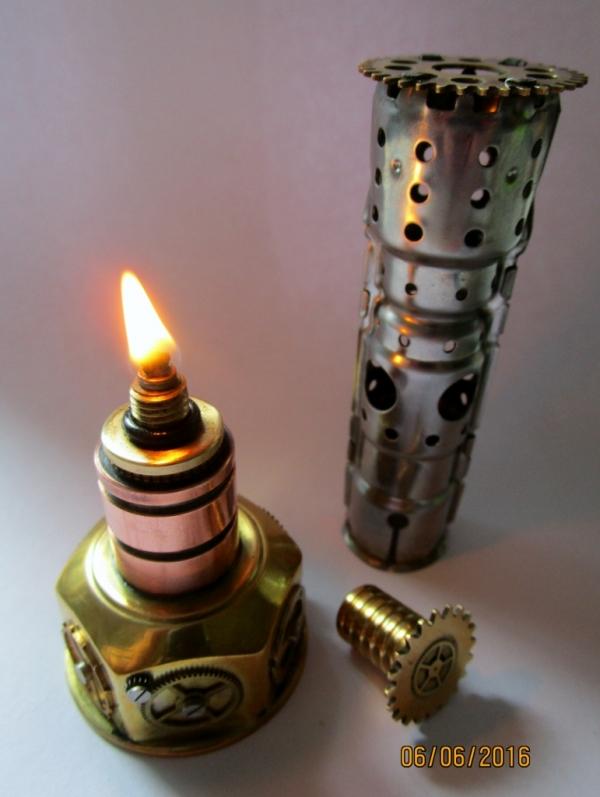 настольная стимпанк спиртовка-горелка с декоративным колпаком проектором.(фото +видео)
