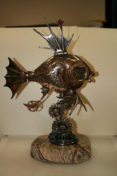 деркач, скульптура, золотая  рыбка