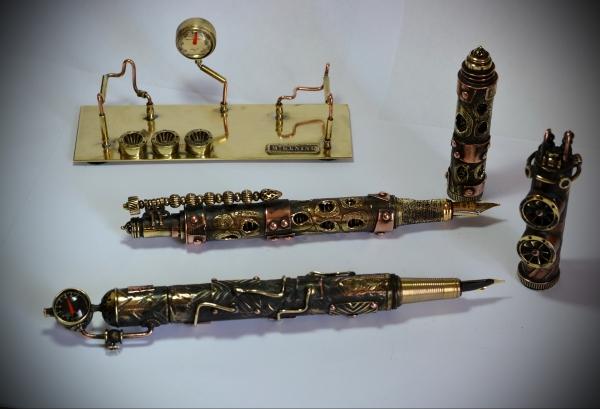 Стимпанк перьевая ручка  Паровая