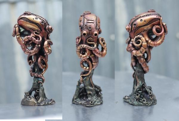 Статуэтка осьминога в стиле стимпанк, биомеханика.