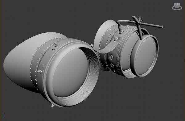 Конкурс Steampunk-Vision 3D. Гогглы в 3d. Переключение на текстуринг.