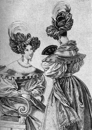 1832 г. Тюрбаны, украшенные перьями птиц