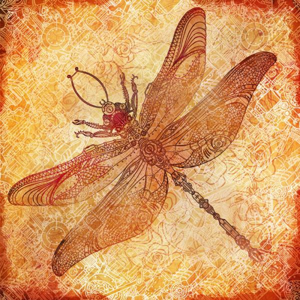 стимпанк стрекоза от Варвары Горбаш