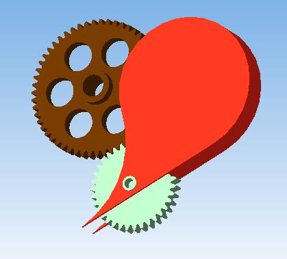 3D - сердце с шестернями