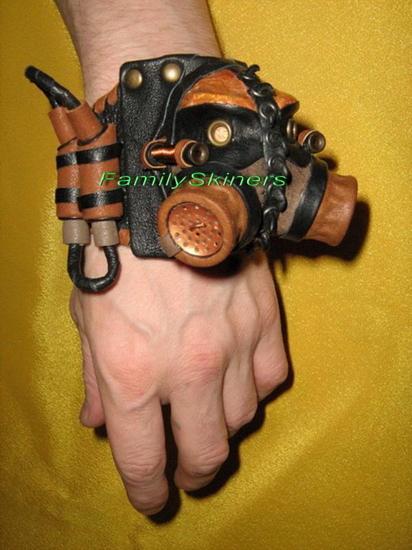 Кожаные браслеты в Steampunk и Cyberpunk стилях. (Фото 6)
