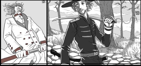 ещё личности в костюмах с мечами