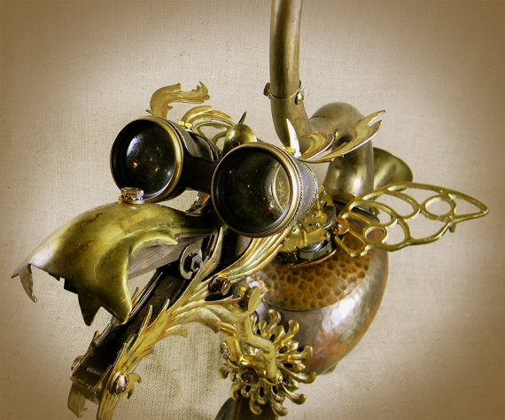 """QUIRK - The Steampunk Baby Dragon - Robot Assemblage""  by Reclaim2Fame"