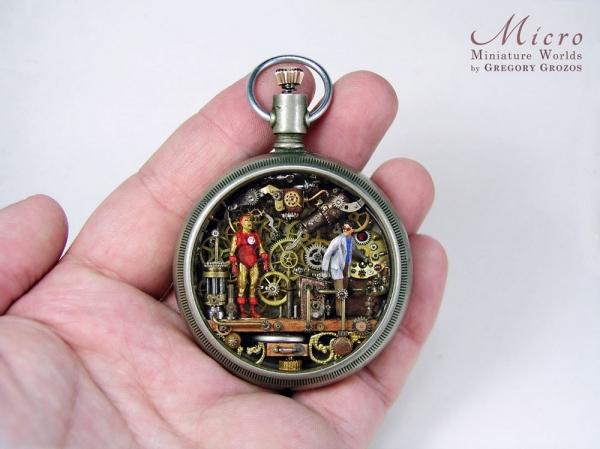 Миниатюрные миры в старых карманных часах Грегори Грозоса