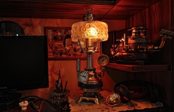 Хрустальный стимпанк светильник с термометром...