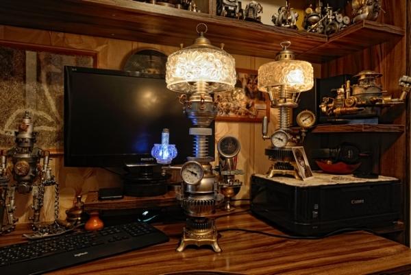 Хрустальный стимпанк светильник с термометром. Версия вторая.